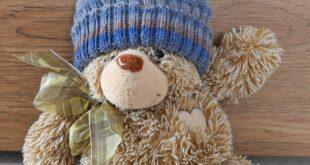 teddy mit gestrickter Babymütze