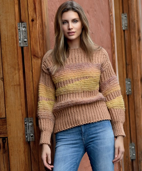Materialmix Pullover LINIE 55 MONTEGO 451 URTICA